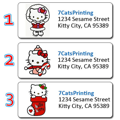 30 hello kitty christmas return address labels candy cane stocking