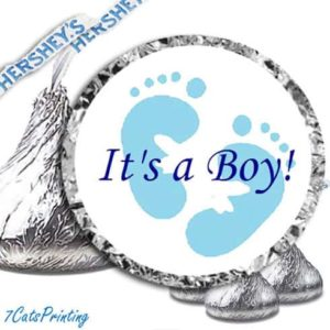 baby shower blue feet kiss labels