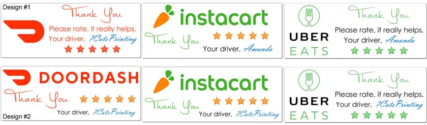door dash uber eats instacart thank you stickers