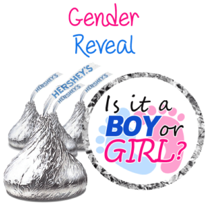 gender reveal hershey kiss labels