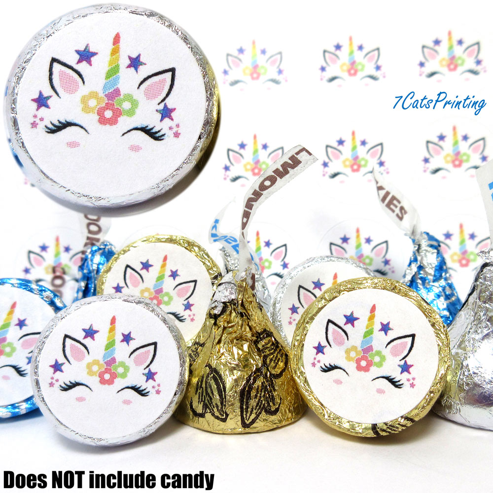 unicorn face labels for hershey kisses