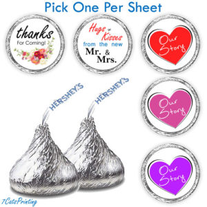 wedding hershey kiss labels